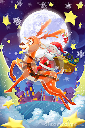 Free Illustration: Merry Christmas And Happy New Year! The Happy Santa Claus And His Deer Set Off To Send You Gifts! Stock Photos - 62233823