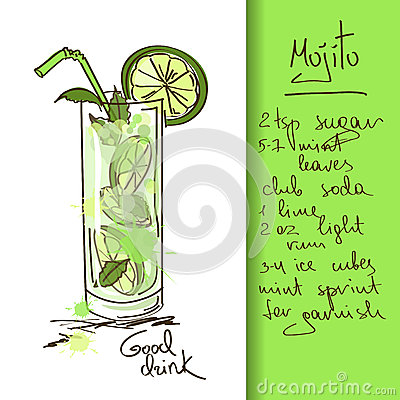 Illustration with Mojito cocktail
