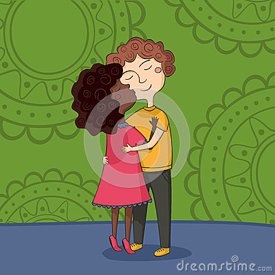 Illustration of multicultural boy and girl kissing