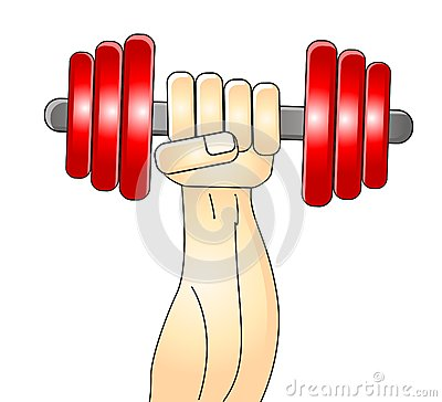 Illustration of muscleman train his arm