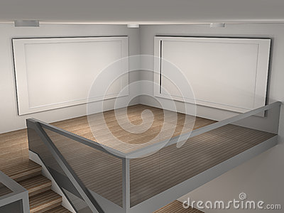 Illustration of a museum with 2 empty frames