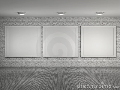 Illustration of museum interior with frames