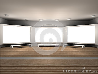 Illustration of a museum room with 3 frames
