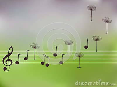 Illustration of music notes with dandelion