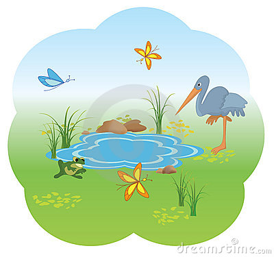 Illustration of nature with  blue lake - vector