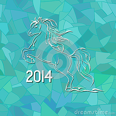 Illustration with New Year 2014 symbol of horse