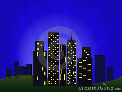 Illustration Of Night Cityscape