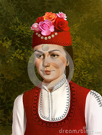 Free Illustration Of A Beautiful Bulgarian Girl In Traditional Clothing Royalty Free Stock Image - 54846246
