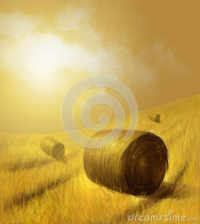 Free Illustration Of A Countryside Field In The Background And A Hay In The Foreground Stock Photos - 54640603