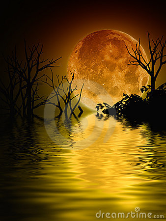 Free Illustration Of A Full Moon Scenery Royalty Free Stock Image - 15208546