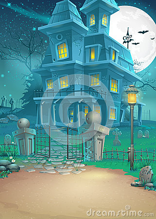 Free Illustration Of A Haunted House On A Moonlit Night Stock Photos - 45053703