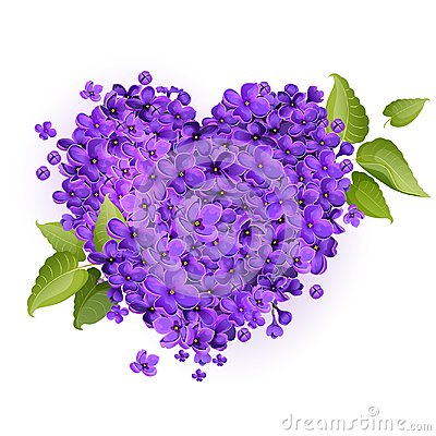 Free Illustration Of A Heart Filled With Lilac Flowers Stock Photos - 112175813