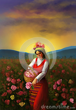 Free Illustration Of A Young Bulgarian Girl Wearing Traditional Clothing And Piking Up Roses Royalty Free Stock Photo - 54370915