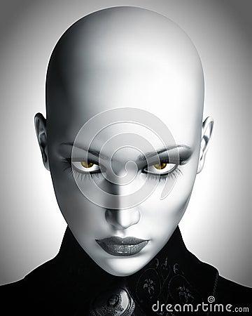 Free Illustration Of Beautiful Bald Futuristic Woman Royalty Free Stock Photography - 26192737