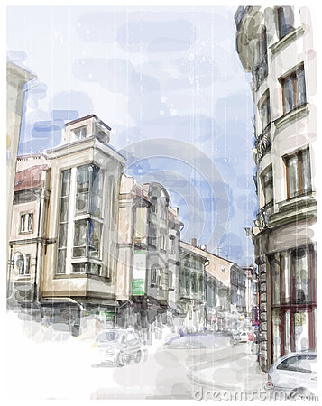 Free Illustration Of City Street. Royalty Free Stock Images - 33341219