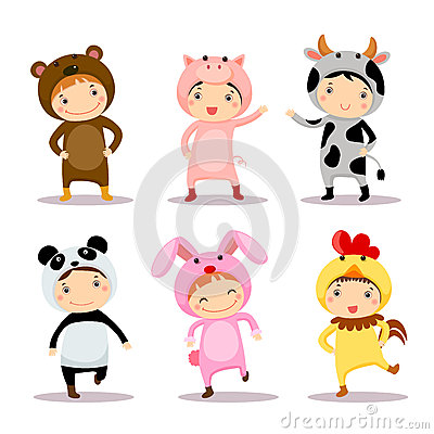 Free Illustration Of Cute Kids Wearing Animal Costumes Stock Photo - 58226830