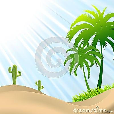 Free Illustration Of Desert Scene With Palm Tree,cactus Royalty Free Stock Photo - 42466145