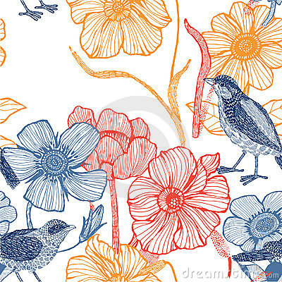 Free Illustration Of Flowers, Bird Royalty Free Stock Images - 23926769