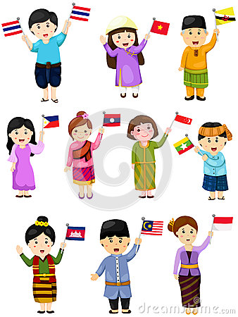 Free Illustration Of Isolated Set Boys And Girls Of Asean Countries Stock Photo - 51964970