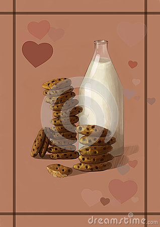 Free Illustration Of Milk And Cookies - The Best Sweet, Tasty Breakfast Combination Royalty Free Stock Images - 61201309