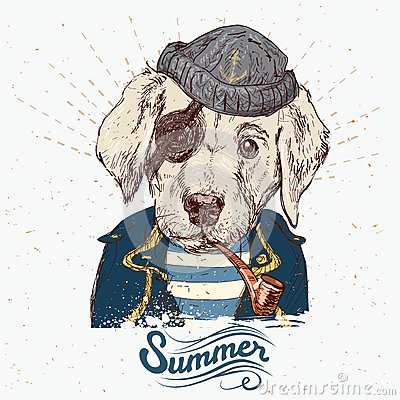 Free Illustration Of Pirate Dog On Blue Background In Vector Stock Photo - 57785050