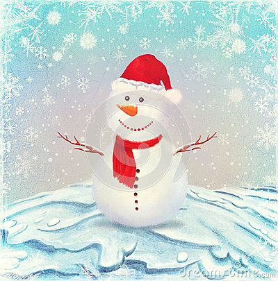 Free Illustration Of Snowman, On A Background Of Snow Stock Photography - 27410782