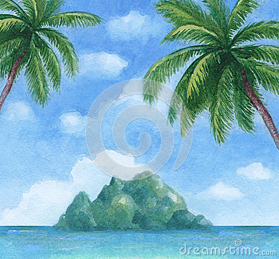 Free Illustration Of The Tropical Island Royalty Free Stock Images - 33741559