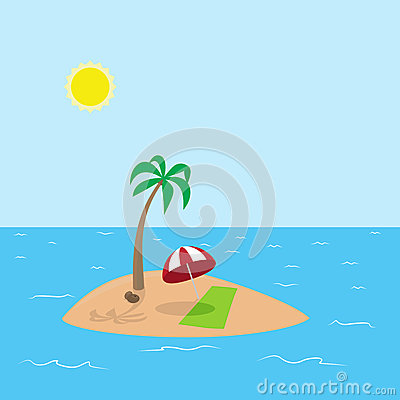 Free Illustration Of Tropical Island With Coconut, Palm Royalty Free Stock Images - 54802879