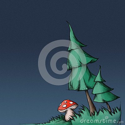 Free Illustration Of Two Fir Trees An A Mushroom (fly Agaric) Stock Photography - 46713442