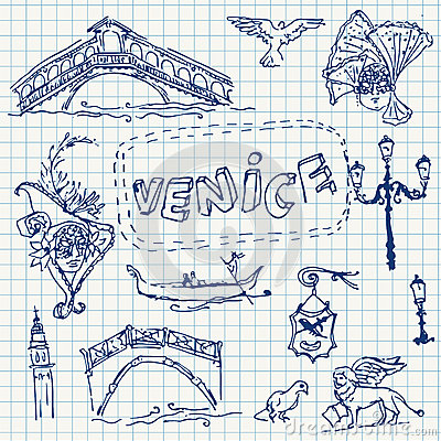 Free Illustration Of Vector Set Of Venice Stock Photos - 58372633