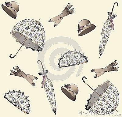Free Illustration Of Vintage Umbrella, Hat, Fan, Glove. Royalty Free Stock Images - 17942779