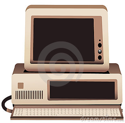 Illustration of an old computer system