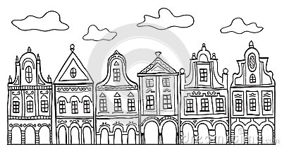 Illustration of old decorated village houses