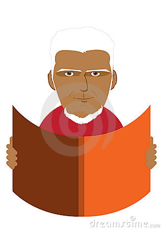 Illustration of a Old Man Reading
