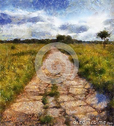 Illustration, old road