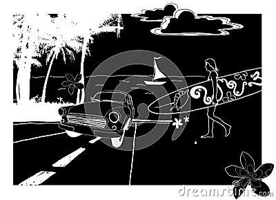 Illustration of old-timer. Vector