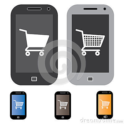Illustration of online shopping using mobile/cell phone