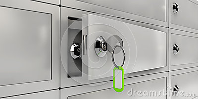 Illustration of Open Safe Deposit Boxes, Realistic object Stock Photo