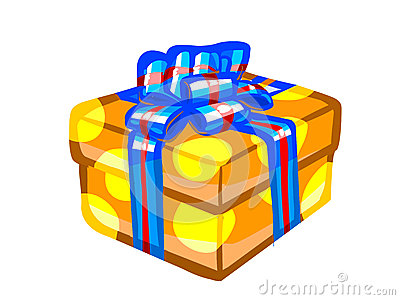 The illustration of an orange present box.