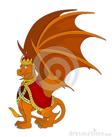 Orange emperor or king dragon cartoon