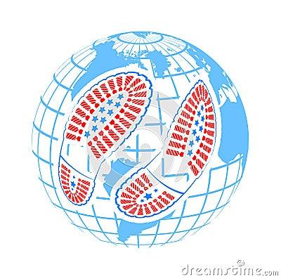 Illustration of pair of foot prints around globe