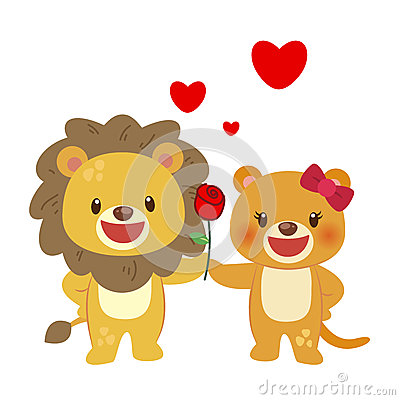 Illustration of a pair of lion