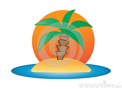 Illustration of a palm tree on small island