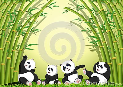 The panda action playing together under the bamboo Vector Illustration