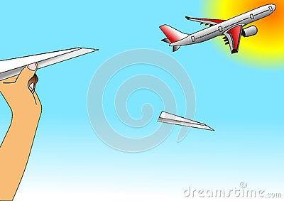 Illustration of paper airplane and airbus flying