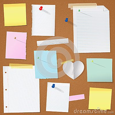 Illustration paper notes on cork board