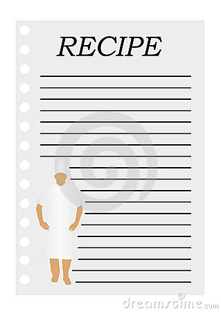 Illustration of a paper with text for a recipe