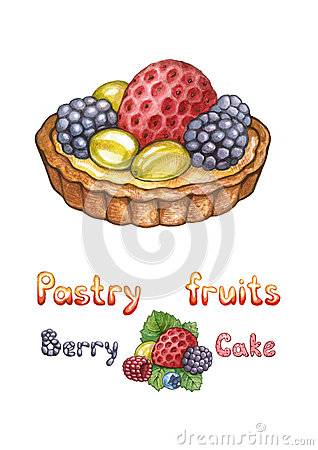 Illustration of pastry fruit