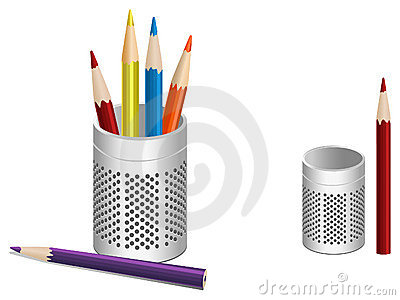 Illustration of pen pot and colored pencils