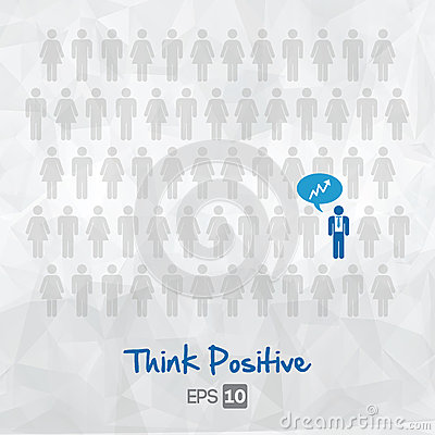 Illustration of people icons, think positive